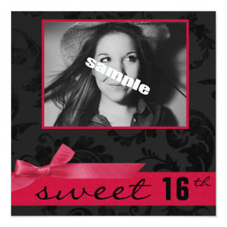 Sweet 16th Teen Birthday Party (Pink & Black) 13 Cm X 13 Cm Square Invitation Card