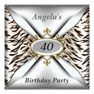 "Sweet 40th birthday Invitation White tiger 5.25"" Square Invitation Card"