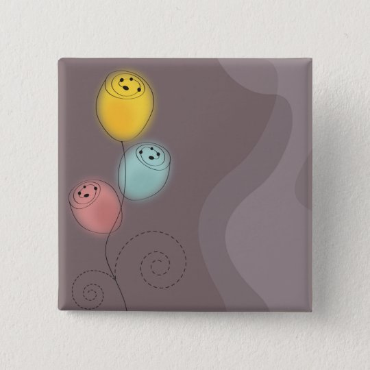 Sweet Abstract Flowers 15 Cm Square Badge