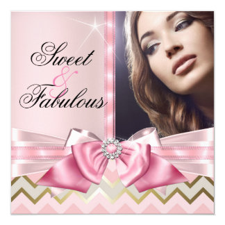 Sweet and Fabulous Pink Gold Chevron Birthday 3 Card