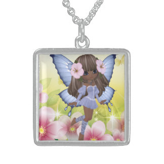 Sweet and Loving African American Princess Fairy Square Pendant Necklace