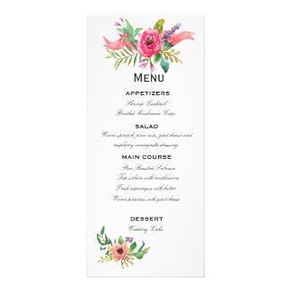 Sweet and Romantic Watercolor flowers Rack Card