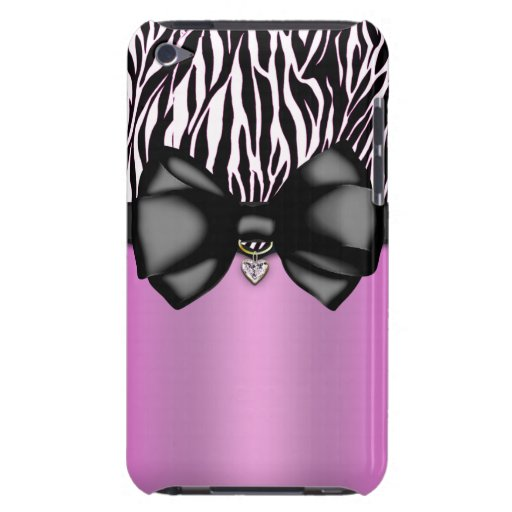 Sweet and Sassy Bowed Zebra Print Case Barely There iPod Case
