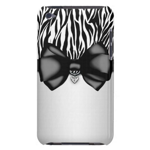 Sweet and Sassy Bowed Zebra Print Case iPod Touch Cases