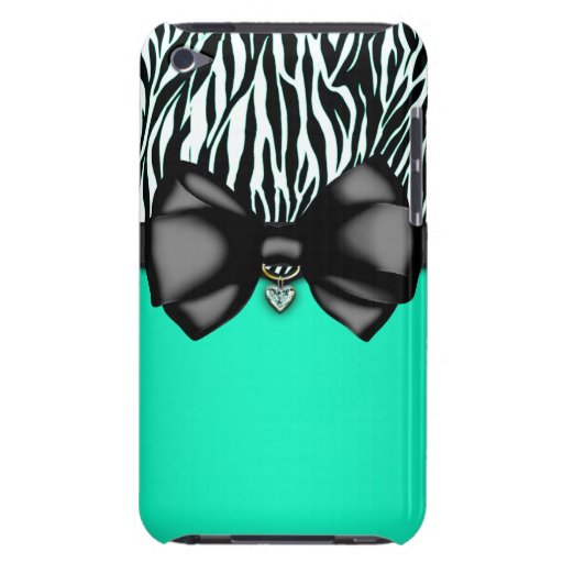 Sweet and Sassy Bowed Zebra Print Case Barely There iPod Cases