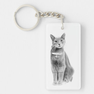 Sweet Angel Eyes Single-Sided Rectangular Acrylic Key Ring