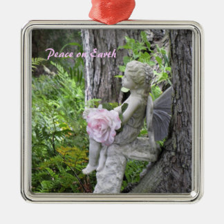 Sweet Angel in a Garden Christmas Ornament