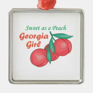 Sweet As A Peach Georgia Gire Silver-Colored Square Decoration