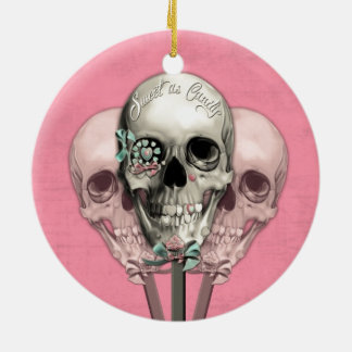 Sweet as Candy Lollipop skulls in pink. Christmas Ornament
