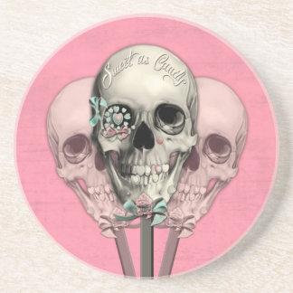 Sweet as Candy Lollipop skulls in pink. Coaster