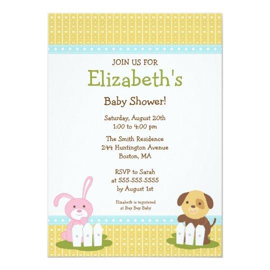 Sweet Baby Animals Baby Shower Invitation