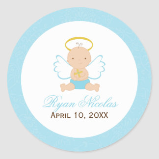 Sweet Baby Boy Baptism Round Sticker