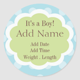 Sweet Baby Boy Birth Announcement Sticker