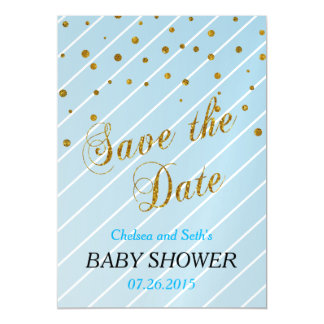Sweet Baby Boy Blue & Gold Confetti   Baby Shower Magnetic Invitations