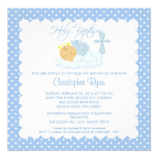 Sweet Baby Boy Cross Holy Baptism Inviation Personalized Invites