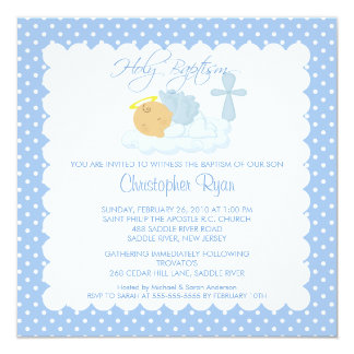 Sweet Baby Boy & Cross Holy Baptism Inviation 13 Cm X 13 Cm Square Invitation Card