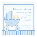 Sweet Baby Boy in Carriage Baby Shower in Blue 13 Cm X 13 Cm Square Invitation Card