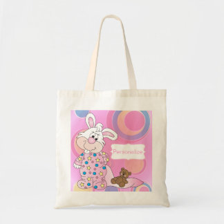 Sweet Baby Bunny with Pink Dots Budget Tote Bag