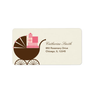 Sweet Baby Carriage Address Label - Pink