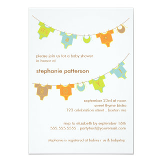 Sweet Baby Clothes LIne It's a Boy Baby Shower 13 Cm X 18 Cm Invitation Card
