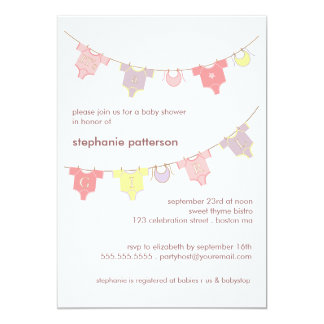 Sweet Baby Clothes LIne It's a Girl Baby Shower 13 Cm X 18 Cm Invitation Card