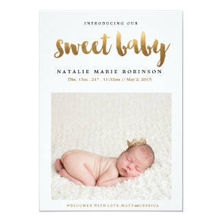 SWEET BABY Copper Birth Announcement
