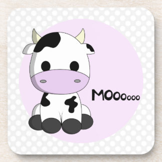 Sweet baby cow on polka dots girl beverage coaster