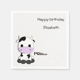 Sweet baby cow on polka dots girl birthday disposable napkins