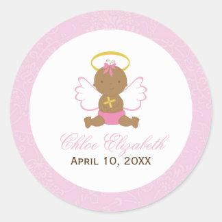 Sweet Baby Girl Baptism Round Sticker