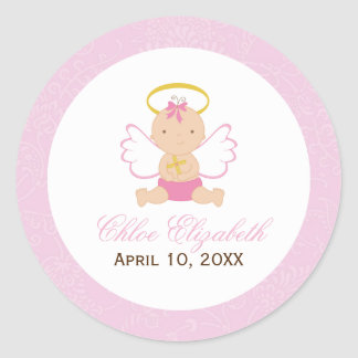 Sweet Baby Girl Baptism Round Sticker