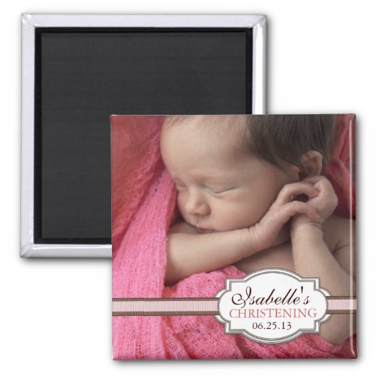 Sweet Baby Girl Christening Brown & Pink Photo