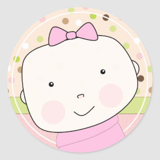 Sweet Baby Girl Face Envelope Seal