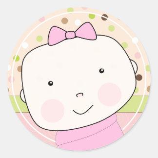 Sweet Baby Girl Face Envelope Seal Round Sticker