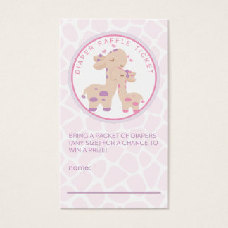 Sweet Baby Girl Giraffe Baby Shower Diaper Raffle
