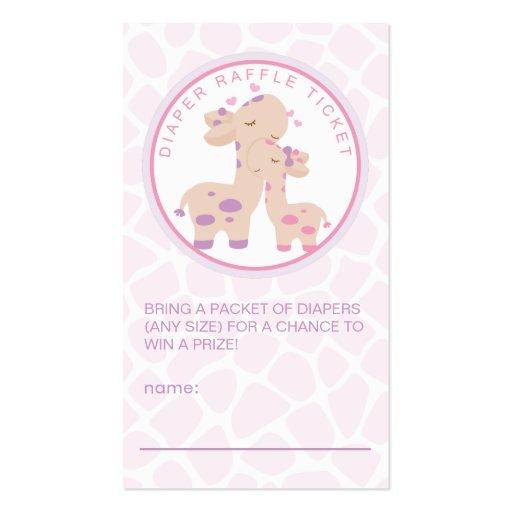 Sweet Baby Girl Giraffe Baby Shower Diaper Raffle Business Cards