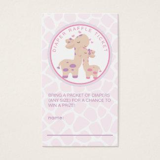 Sweet Baby Girl Giraffe Baby Shower Diaper Raffle Business Card