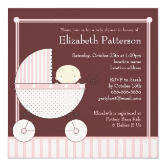 Sweet Baby Girl in Carriage Baby Shower in Pink Card