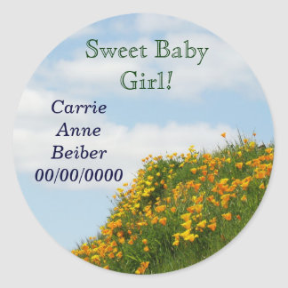 Sweet Baby Girl stickers Baby Name Birth Date