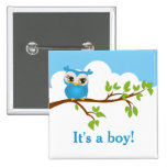 Sweet Baby Owl Boy Baby Shower Button Button
