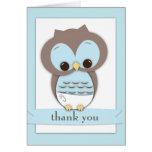 Sweet Baby Owl Boy Thank You Card | Blue