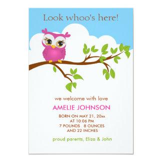 Sweet Baby Owl Girl Birth Announcement Card