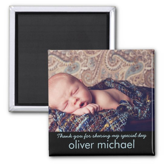 Sweet Baby Photo Blue Keepsake Thank You Magnet