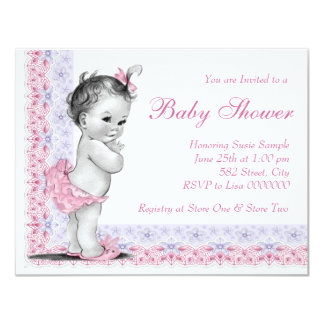 Sweet Baby Pink and Purple Baby Shower 11 Cm X 14 Cm Invitation Card