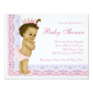 """Sweet Baby Pink and Purple Baby Shower 4.25"""" X 5.5"""" Invitation Card"""