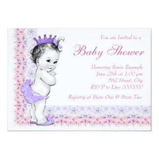 """Sweet Baby Pink and Purple Baby Shower 5"""" X 7"""" Invitation Card"""