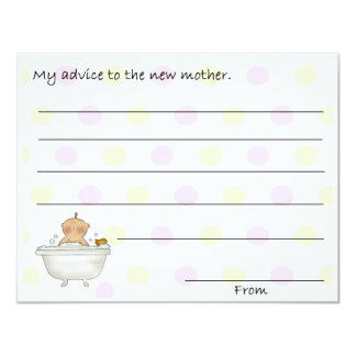 "Sweet Baby Shower Advice Cards 4.25"" X 5.5"" Invitation Card"