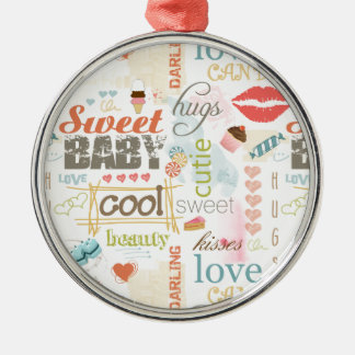 Sweet Baby Text Design Your Color  ID237 Silver-Colored Round Decoration