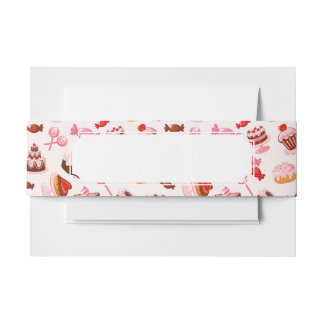 Sweet background invitation belly band