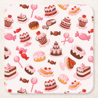 Sweet background square paper coaster