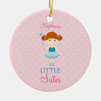 Sweet Ballerina Little Sister Round Ceramic Decoration